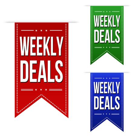 Weekly deals banner design set on white background, vector illustration