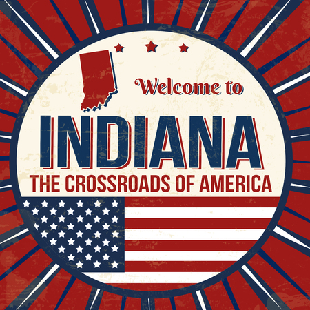 Welcome to Indiana vintage grunge poster, vector illustrator