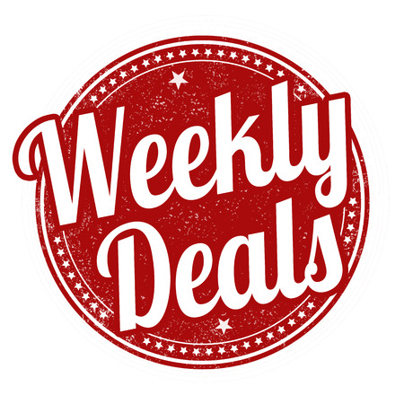 Weekly deals sign or stamp on white background, vector illustration