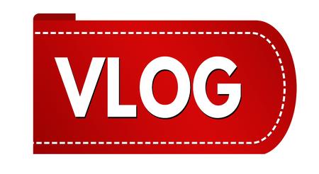 Vlog banner design on white background, vector illustration