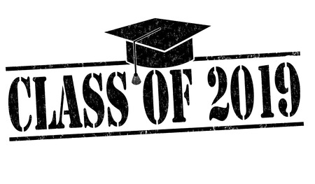Class of 2019 grunge rubber stamp on white, vector illustration