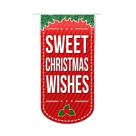 Sweet Christmas wishes banner design on white background, vector illustration