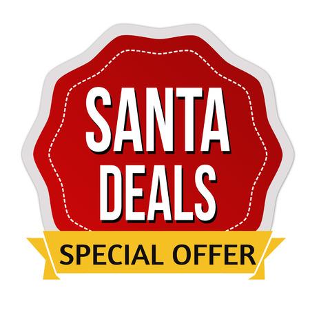 Santa deals sign or stamp on white background, vector illustration