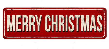 Merry Christmas vintage rusty metal sign on a white background, vector illustration