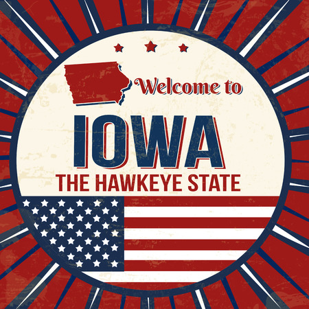 Welcome to Iowa vintage grunge poster, vector illustrator