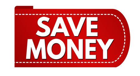 Save money banner design on white background, vector illustration Çizim