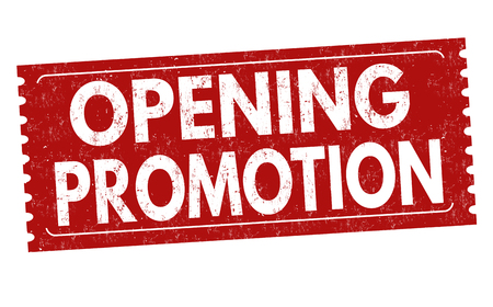 Opening promotion sign or stamp on white background, vector illustration