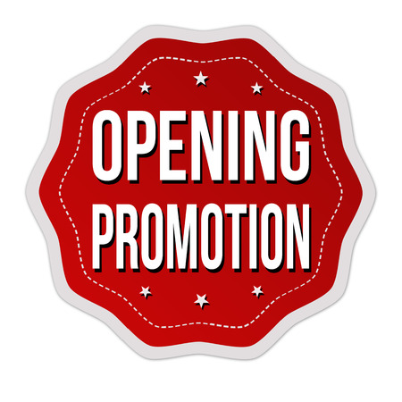 Opening promotion label or sticker on white background, vector illustration