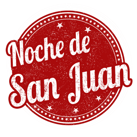 Night of Saint John on spanish language ( Noche de San Juan )sign or stamp on white background, vector illustration
