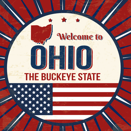 Welcome to Ohio vintage grunge poster, vector illustrator