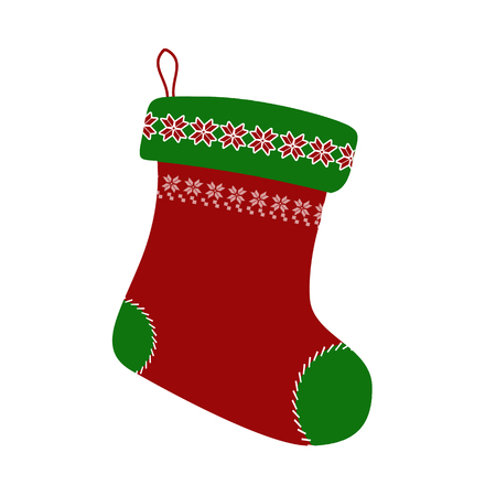 Christmas stocking on white backgound, vector illustration