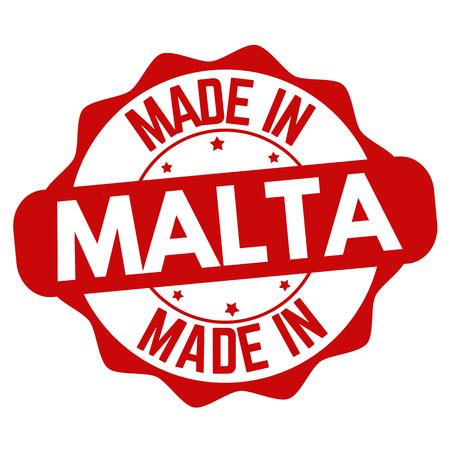 Made in Malta sign or stamp on white background, vector illustration Çizim