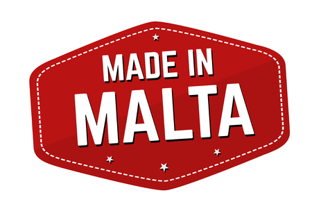 Made in Malta label or sticker on white background, vector illustration Çizim
