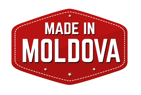 Made in Moldova label or sticker on white background, vector illustration