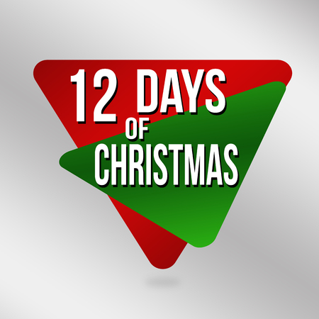 12 days of Christmas label or sticker on grey background, vector illustration