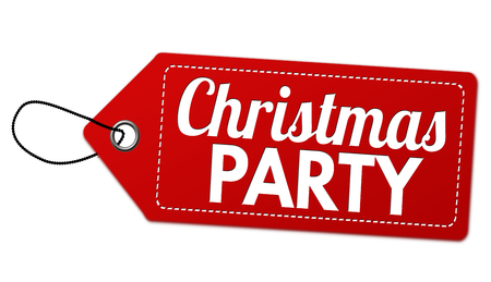 Christmas party label or price tag on white background, vector illustration