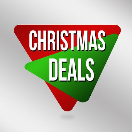 Christmas deals label or sticker on grey background, vector illustration