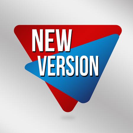New version label or sticker on grey background, vector illustration Çizim