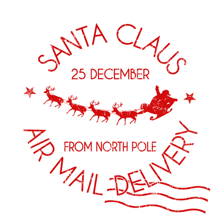 Santa Claus air mail delivery sign or stamp on white background, vector illustration