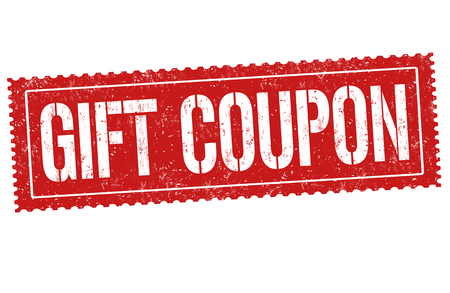 Gift coupon sign or stamp on white background, vector illustration Çizim