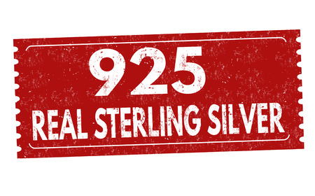 Real sterling silver sign or stamp on white background, vector illustration