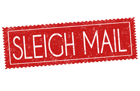 Sleigh mail sign or stamp on white background, vector illustration Çizim