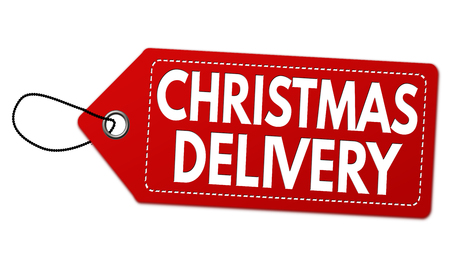 Christmas special delivery label or price tag on white background, vector illustration