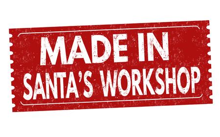 Made in Santas workshop sign or stamp on white background, vector illustration Çizim