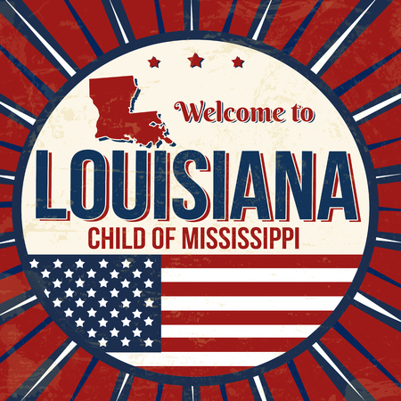 Welcome to Louisiana vintage grunge poster, vector illustration
