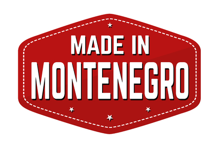 Made in Montenegro label or sticker on white background, vector illustration Çizim