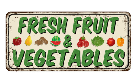Fresh fruit and vegetables vintage rusty metal sign on a white background, vector illustration Çizim
