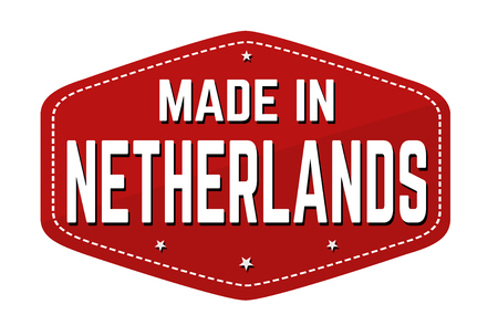 Made in Netherlands label or sticker on white background, vector illustration Çizim