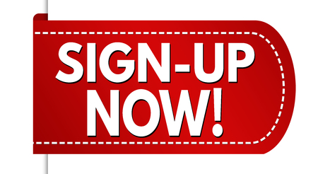 Sign-up now banner design on white background, vector illustration