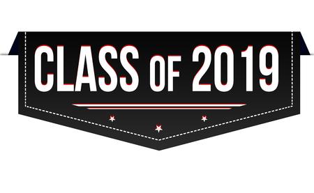 Classe di 2019 banner design su sfondo bianco, illustrazione vettoriale