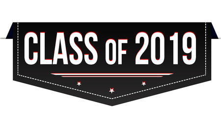 Class of 2019 banner design on white background, vector illustration