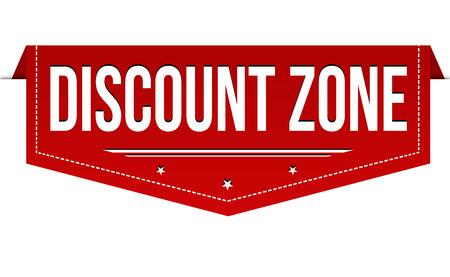 Discount zone banner design on white background, vector illustration