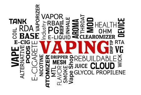 Vaping word cloud concept on white background, vector illustration Vectores