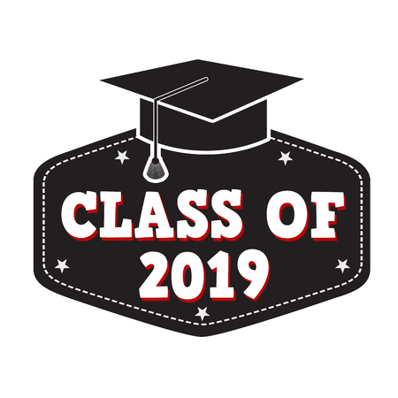 Class of 2019 label on white, vector illustration