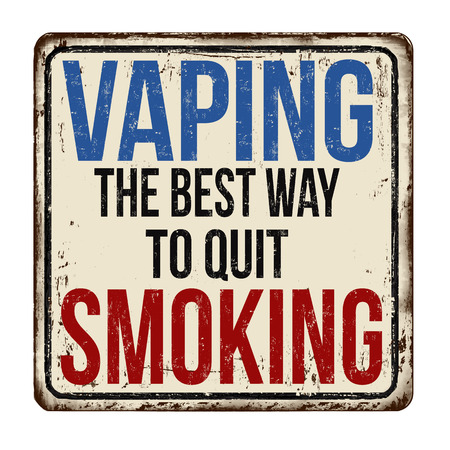 Vaping the best way to quit smoking vintage rusty metal sign on a white background, vector illustration