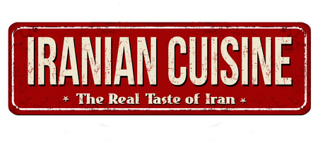 Iranian cuisine vintage rusty metal sign on a white background, vector illustration