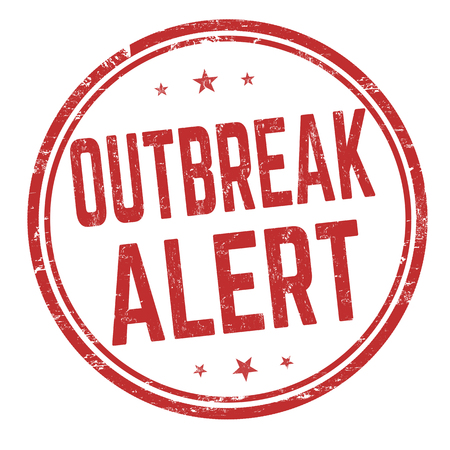 Outbreak area sign or stamp on white background, vector illustration