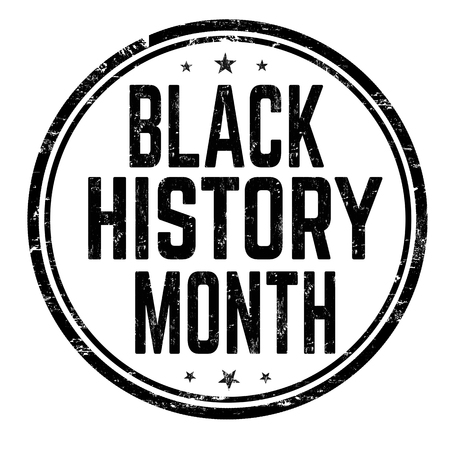 Black history month sign or stamp on white background, vector illustration