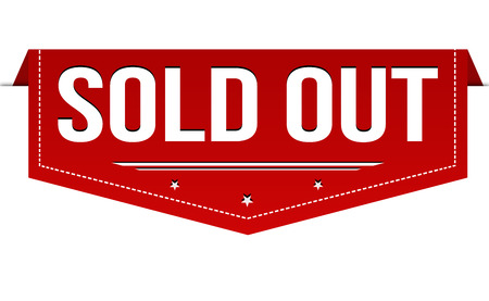 Sold out banner design on white background, vector illustration