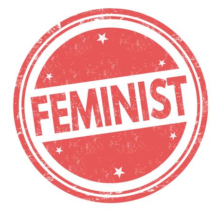 Feminist sign or stamp on white background, vector illustration
