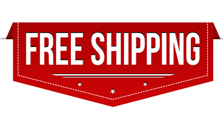 Free shipping banner design on white background, vector illustration