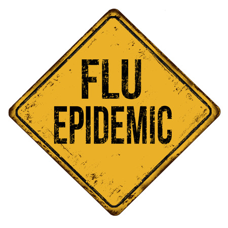 Flu epidemic vintage rusty metal sign on a white background, vector illustration Illustration