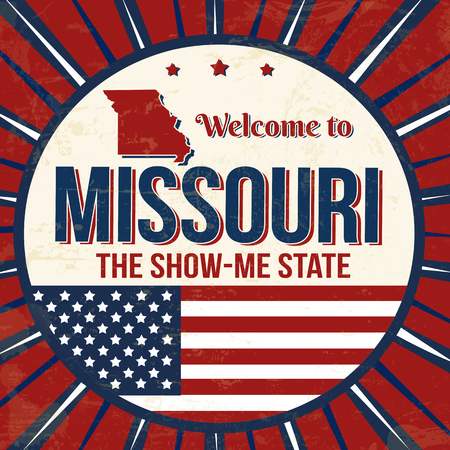 Welcome to Missouri vintage grunge poster, vector illustration