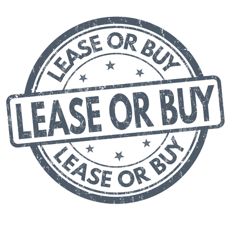 Lease or buy sign or stamp on white background, vector illustration