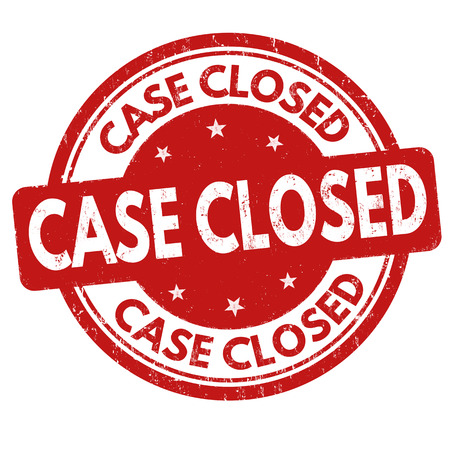 Case closed sign or stamp on white background, vector illustration
