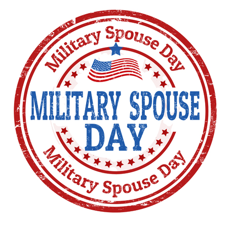 Military spouse day sign or stamp on white background, vector illustration Vectores